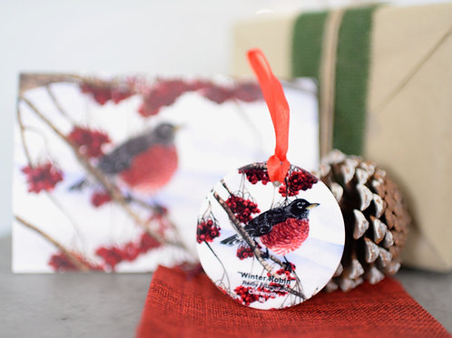 """""""Winter Robin"""" Ornament and Card Set"""