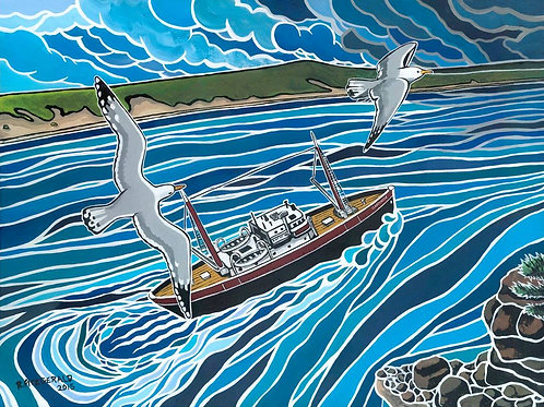 """""""MV Clarenville: Into the Fray"""" Paper Print 9""""X 12"""" Reilly Fitzgerald Artist"""