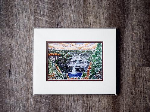 """""""Churchill Falls"""" 5X7 Matted Print Reilly Fitzgerald Artist"""