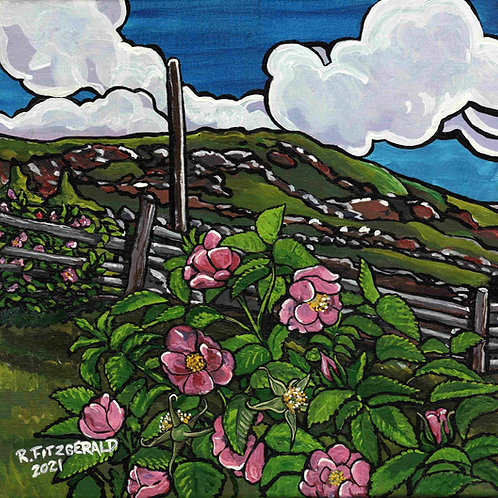 """""""Wild Roses"""" (2021) Original 16"""" X 16"""" acrylic on canvas painting by Reilly Fitz"""