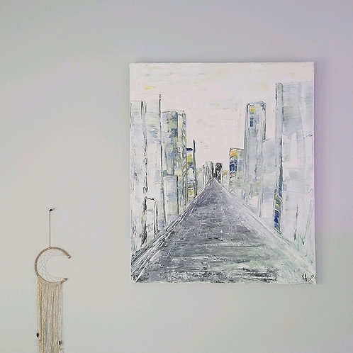 """Street"" Original painting on canvas 20""X24"" K Fitzgerald Artist"