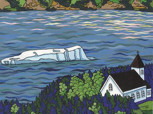 """Iceberg & Church: Sacred Objects (Britannia)"" (2013) Original 22 X 28"" acrylic"