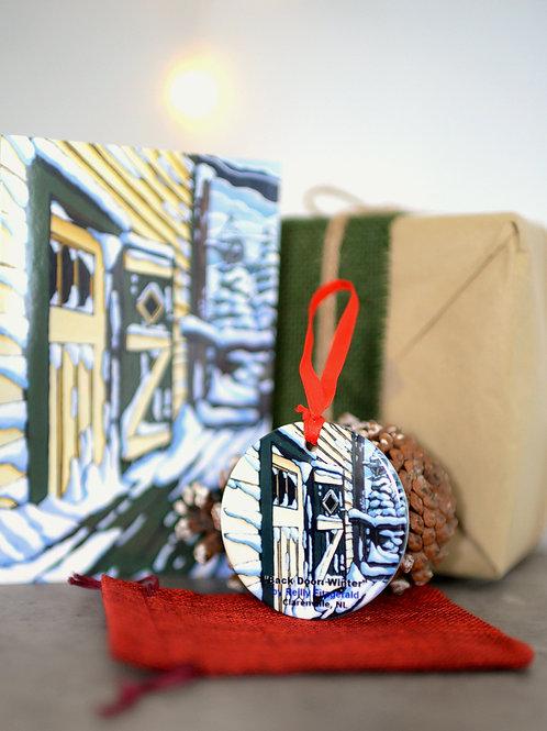 """Back Door Winter"" Ornament and Card Set"