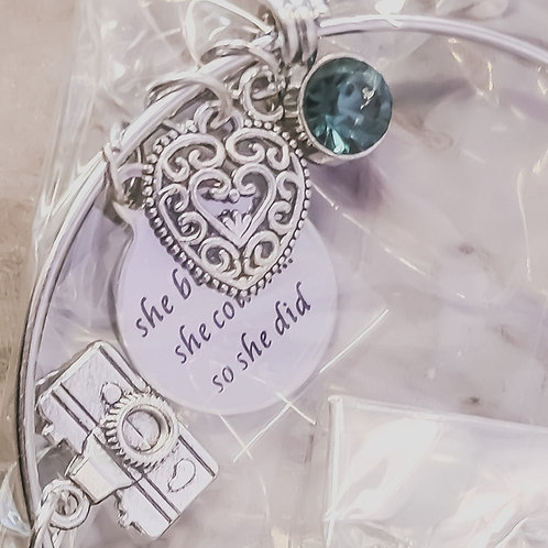 """Camera Charm Bracelet """"She Believed She Could So She Did"""""""