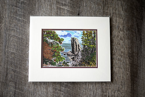 """""""Skirwink Trail Sea Stack"""" 5X7 Matted Print Reilly Fitzgerald Artist"""
