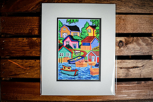 """""""Three Boats And A Fish Table"""" 5X7 Matted Print (Reilly Fitzgerald Artist)"""