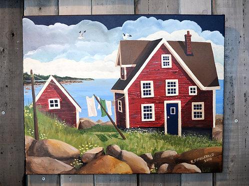 """Red House"" (2014) Original 16 X 20"" Canvas Reilly Fitzgerald Artist"