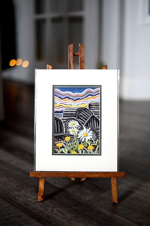 """Pots and Petals""  5X7 Matted Print Reilly Fitzgerald Artist"