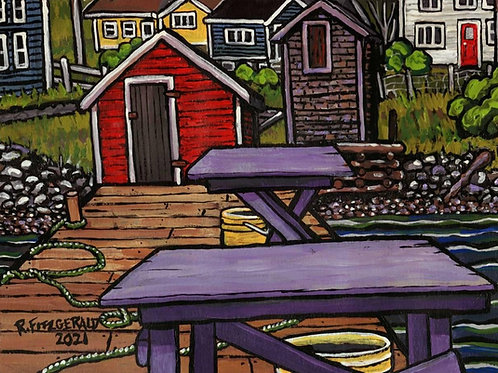 """""""Filleting Tables"""" (2021) 11 x 14 Original acrylic on paper painting"""