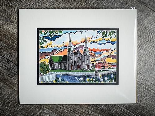 """""""Harbor Grace Church"""" 5X7 Matted Print (Reilly Fitzgerald Artist)"""