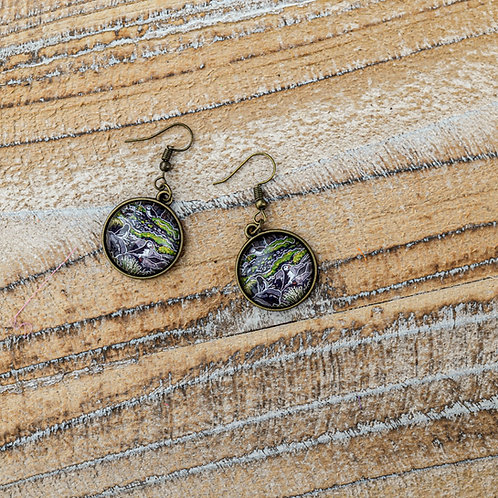 """""""Puffins on a Cliff"""" Earrings (Hanging)"""