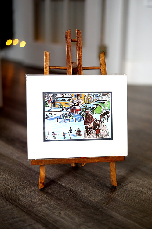 """""""Joining The Crowd""""  5X7 Matted Print Reilly Fitzgerald Artist"""