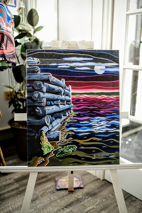 """Wharf in Moonlight"" Canvas Print 25X20 (Reilly Fitzgerald, Artist)"