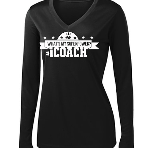 CWALL #ICoach Ladies Performance V-neck Tee