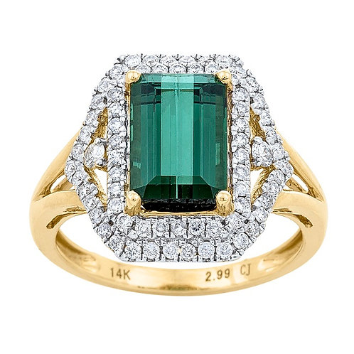 14K Yellow Gold Green Tourmaline & Diamond Double Halo Ring