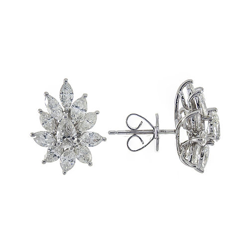 18KW ROUND AND DIAMOND EARRINGS