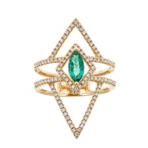 18KY EMERALD AND DIAMOND RING