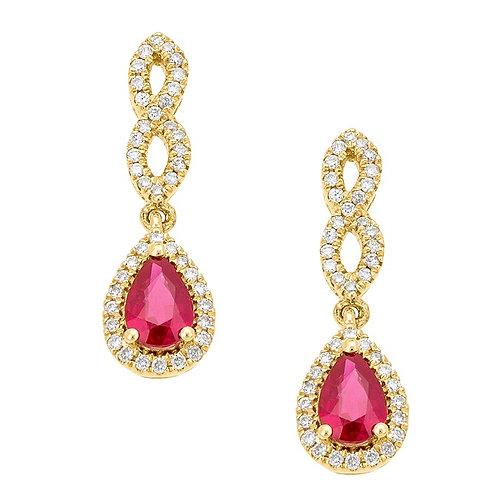 18K GOLD 1.25CTW RUBY & DIAMOND DROP EARRINGS