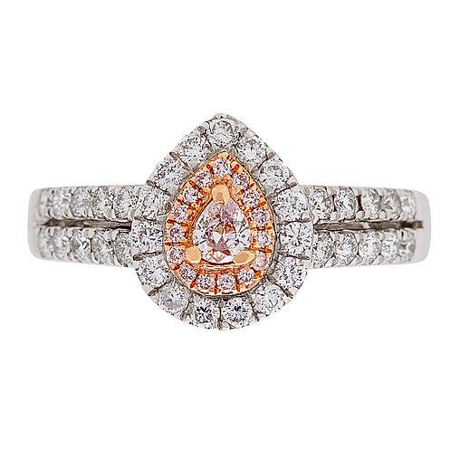 18KTT PINK & WHITE DIAMOND PEAR SHAPED HALO RING