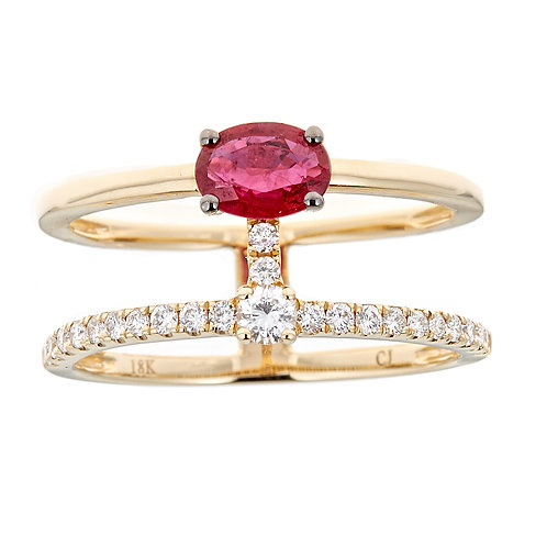 18KY RUBY RING