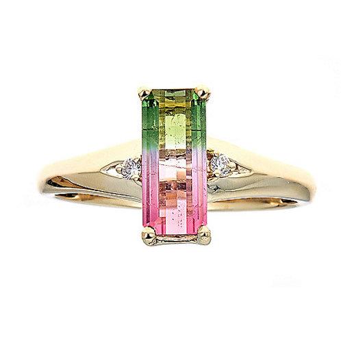 14KY Gold Watermelon Tourmaline & Diamond Ring