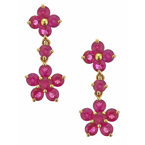 14KY HOT PINK RUBY EARRING