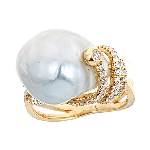 18K YELLOW  GOLD PEARL