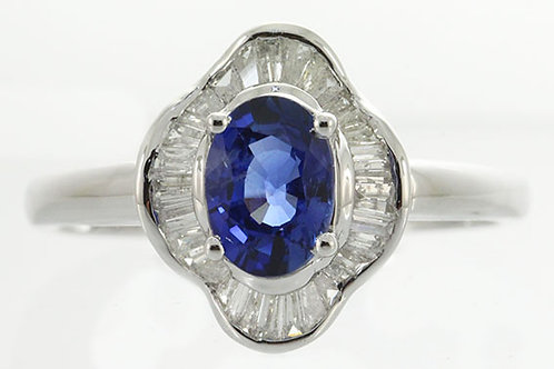 14K Two-tone Gold Sapphire & Diamond Ring