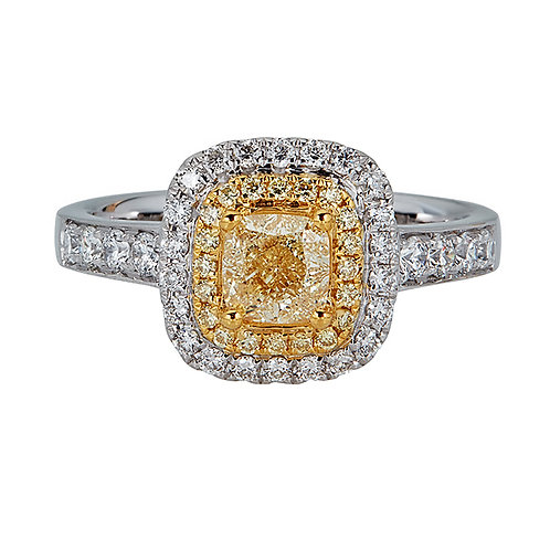 18KTT GOLD FANCY YELLOW AND WHITE DIAMOND RING