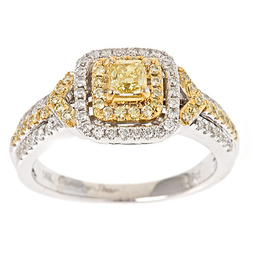 18KW NATURAL YELLOW DIAMOND RING
