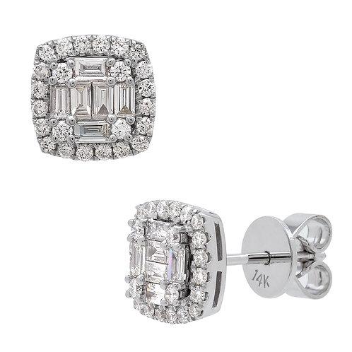 14KW BAGUETTE DIAMOND EARRING