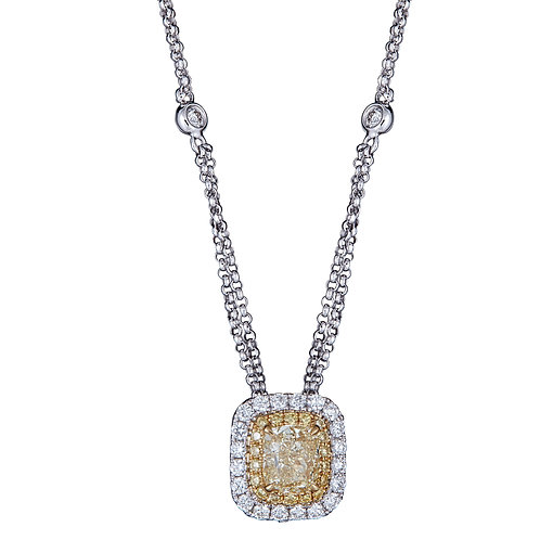18KTT NATURAL YELLOW DIAMOND NECKLACE