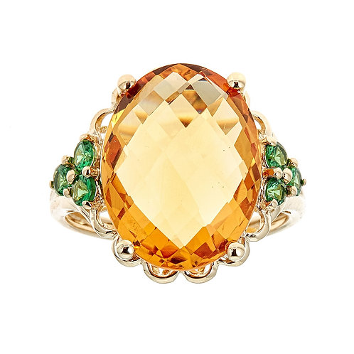 14K Citrine & Tsavorite Ring