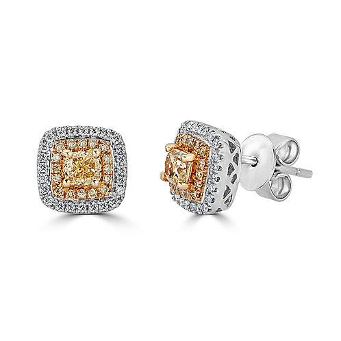18K NATURAL YELLOW DIAMOND EARRING