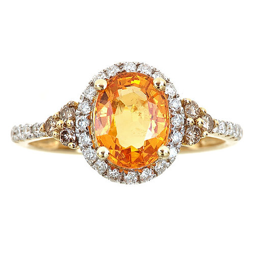 14KY Mandarin Garnet and Diamond Ring