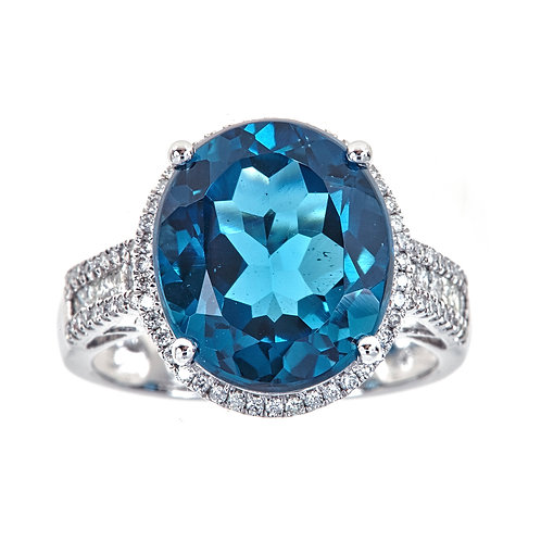 14KW LONDON BLUE TOPAZ AND DIAMOND RING