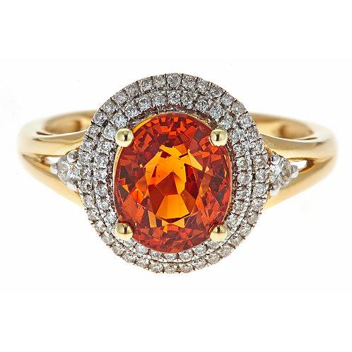 14K Yellow Gold Mandarin Garnet and Dia Ring