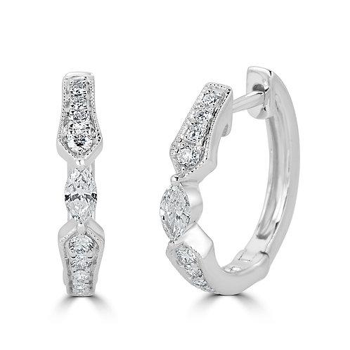 18KW MARQUISE DIAMOND EARRING