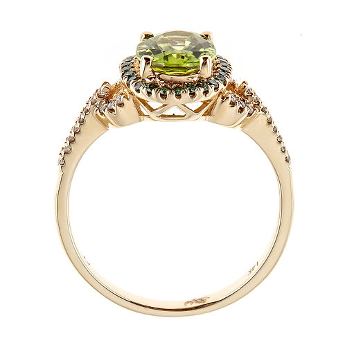 14K Gold Peridot & Diamond Ring