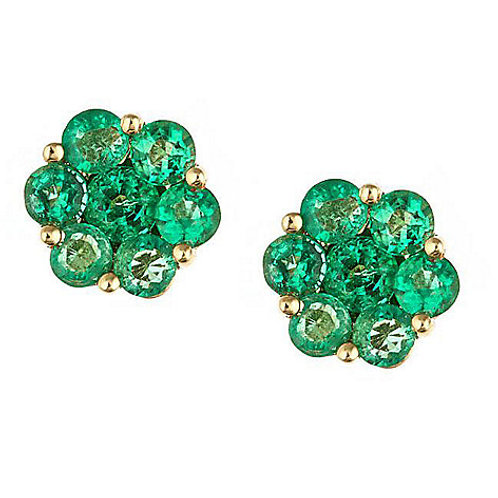 14K Gold Emerald Cluster Stud Earrings