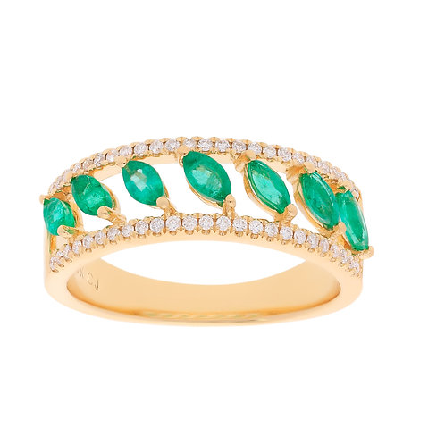 18KY MARQUISE SHAPED EMERALD & DIAMOND BAND RING