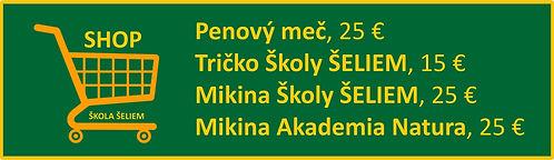 shop Školy ŠELIEM, chanbara, penový meč, tričko, mikina