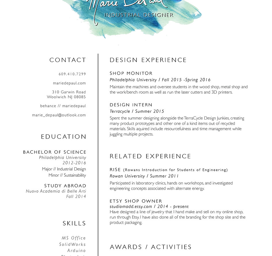 industrial designer projects about contact resume etsy shop downloadable pdf