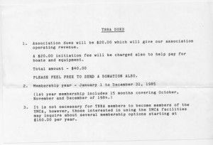 First TRRA dues sheet for 1984-85