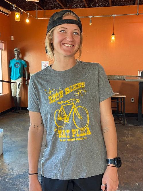 Ride Bikes, Eat Pizza -Women's Grey/Gold