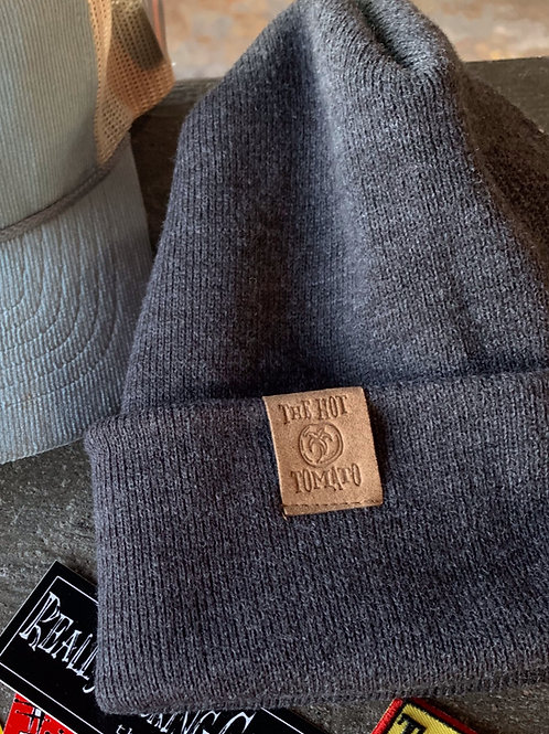 Grey Beanie with Embossed Leather Logo Patch