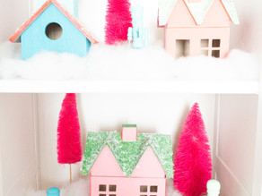 Color-Blocked Christmas Village and Ombre Nutcrackers - 12 DIYs of Christmas