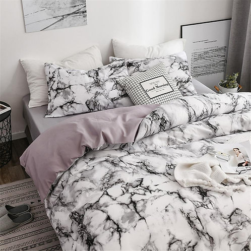2/3pcs Bedding Set Printed Marble Bed Sets White Black Duvet Cover king size