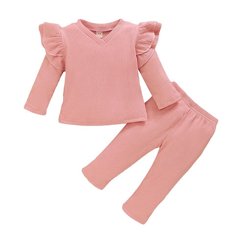 Girl Clothes Baby Clothes Set  Toddler Baby Girls Long Sleeve Ruffles Solid s