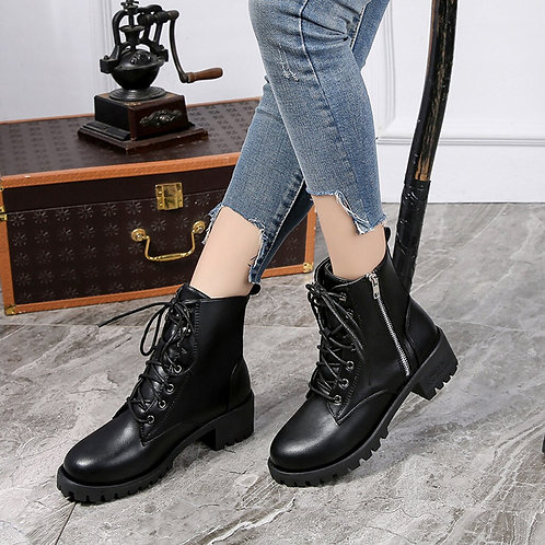 Leather Boots Winter Shoes Woman Vintage Leather Ankle Booties Short Cowboy